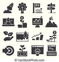 Start up business icon set isolated on white background.