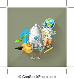 Start-up business project and its development, vector...