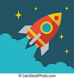 Start up business rocket concept illustration in flat style.