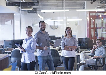 start up business team portrait at modern office interior