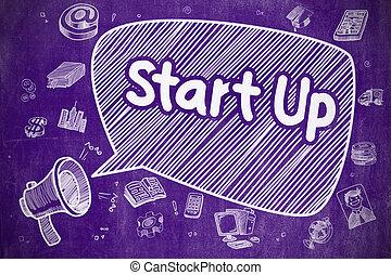 Start Up - Cartoon Illustration on Purple Chalkboard.