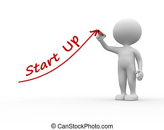Start up - 3d people - men, person and text Start up