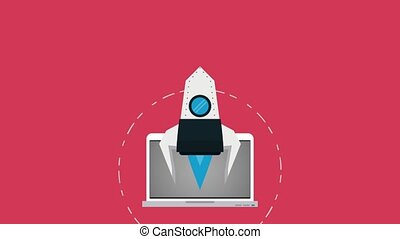 Start up spaceship taking off from laptop high definition colorful animation scenes