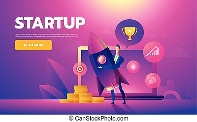 Start up concept. Businessman holds a flying rocket in hand, symbol of start of project's launch. Vector illustration cartoon flat design