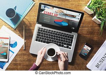 Start up concept - Start up website on laptop, touch screen...