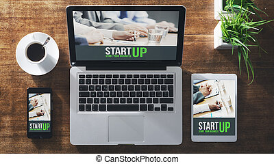 Start up corporate identity website on laptop, digital...