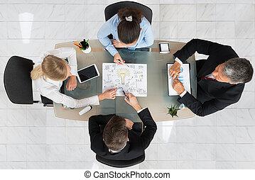 start-up, diskuter, businesspeople, plan
