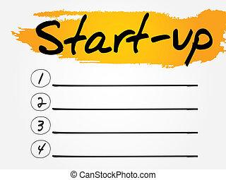 Start-Up Blank List, vector concept background