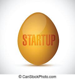 start up golden egg illustration design