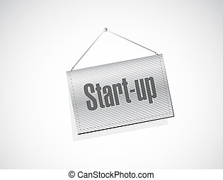 Start-up hanging sign concept illustration