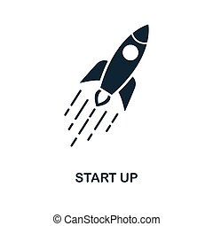 Start Up icon. Monochrome style design from blockchain icon collection. UI and UX. Pixel perfect start up icon. For web design, apps, software, print usage.