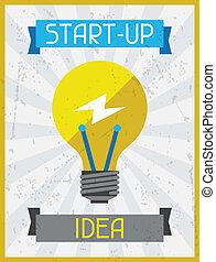 Start-up Idea. Retro poster in flat design style.