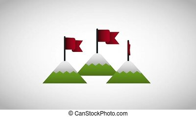 start up mountains flag in top success business animation