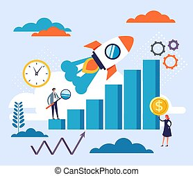 Start up new business concept. Vector flat cartoon graphic design illustration