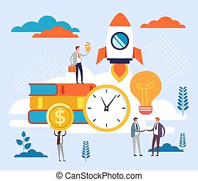 Start up new business project concept. Vector flat cartoon graphic design illustration