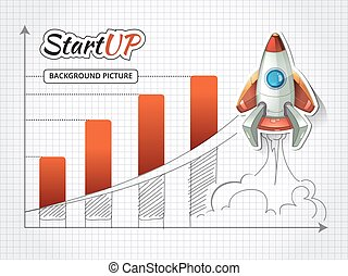 Start up new business project infographic with rocket. Vector illustration