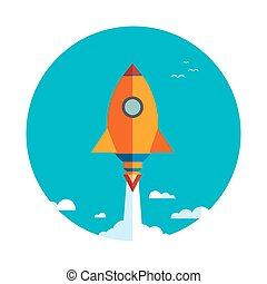 Start up new business project with rocket and clouds image,...