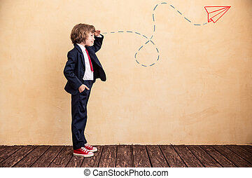 Start up - Portrait of young businessman with drawn...