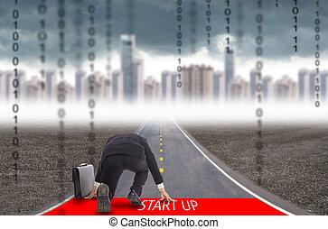 Start up - Businessman start up for challenge his business