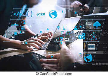 Coding software developer work with AR new design dashboard computer icons of scrum agile development and code fork and versioning with responsive cybersecurity. Start Up Programming Team. Website designer working.
