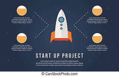 Start up project with rocket business infographic