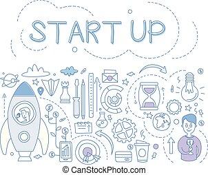 Start up set, hand drawn financial design elements for banner, poster, brochure, flyer, advertising vector Illustration