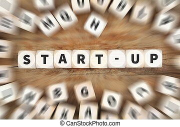 Start-up startup start up launch launching founding new company dice business concept