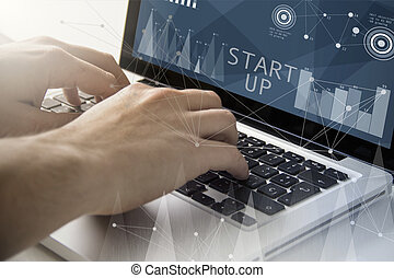 start up techie working - technology and business concept:...