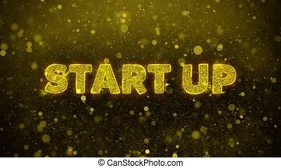 Start Up Text Golden Glitter Glowing Lights Shine Particles. Sale, Discount Price, Off Deals, Offer promotion offer percent discount ads 4K Loop Animation.