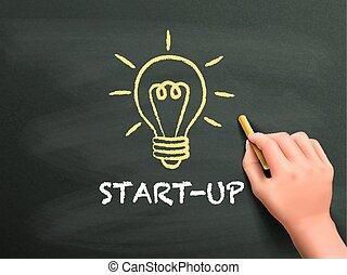 start-up word written by hand on blackboard
