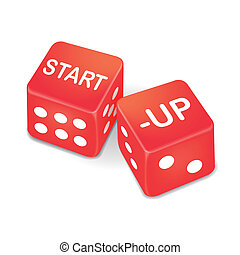 start up words on two red dice