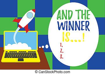 start, verkünden, hintergrund., laptop, wort, schreibende, wolkenhimmel, growing., oder, ort, gerieten, konkurrenz gewinner, is., heraus, zuerst, erfolgreich, abschuss, prüfung, rakete, geschäftskonzept, text