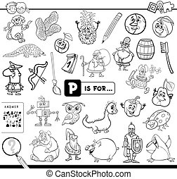 Black and White Cartoon Illustration of Finding Picture Starting with Letter P Educational Game Workbook for Children Coloring Book
