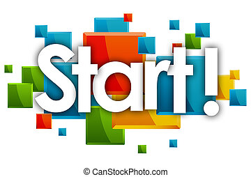 Start word in colored rectangles background