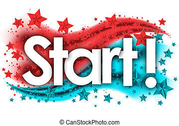 Start word in stars colored background
