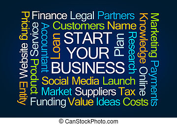 Start Your Business Word Cloud on Blue Background
