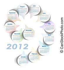 startar, kalender, vektor, monday), (week