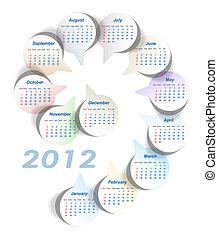 startar, sunday), vektor, (week, kalender, 2012