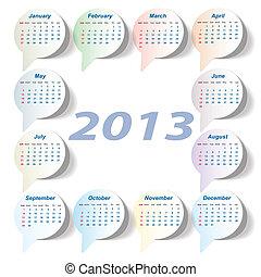 startar, sunday), vektor, (week, kalender, 2013
