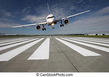 startbaan, vliegtuig, op, laag
