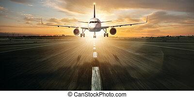 startbahn, gewerblich, landung, düsenverkehrsflugzeug