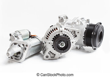 starter, alternator / generator and air conditioning compressor isolated on white background
