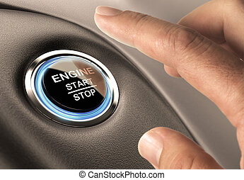 Starter Button - Car engine start and stop button with blue...