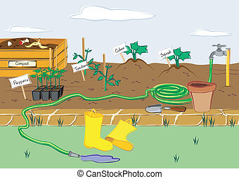 Starter Garden - The beginnings of a garden with starter...