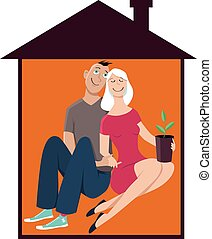 Starter Home - Young happy couple in a little house, first...