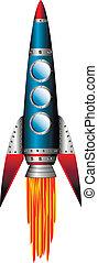 Starting blue rocket on white background - vector...