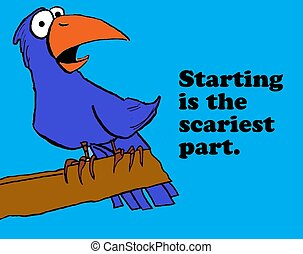 Starting - Business cartoon about starting is the scariest...