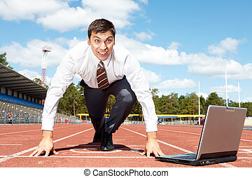 Starting business - Image of handsome businessman getting...