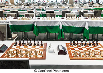 Starting chess tournament - Chess board with figures before...