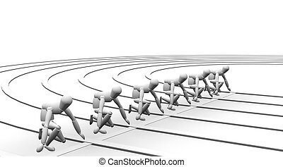 Starting line - 3D render of runners lined up on the...